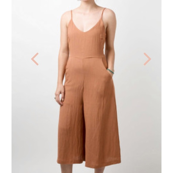 reputation first limited sale later Rust Colored Everly Culotte Jumpsuit